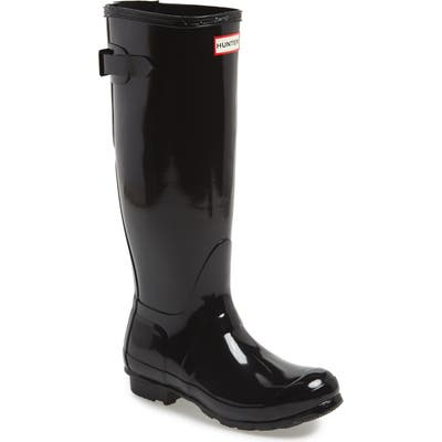 Hunter Adjustable Back Gloss Waterproof Rain Boot, Black
