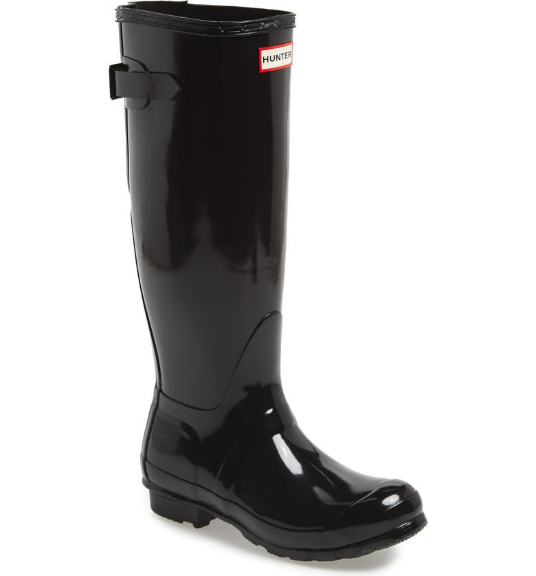 HUNTER Adjustable Back Gloss Waterproof Rain Boot, Main, color, BLACK
