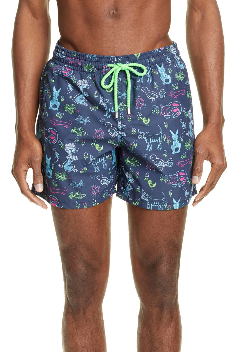 VILEBREQUIN x Florence Broadhurst Moorea Rabbits & Poodles Swim Trunks, Main, color, BLEU MARINE