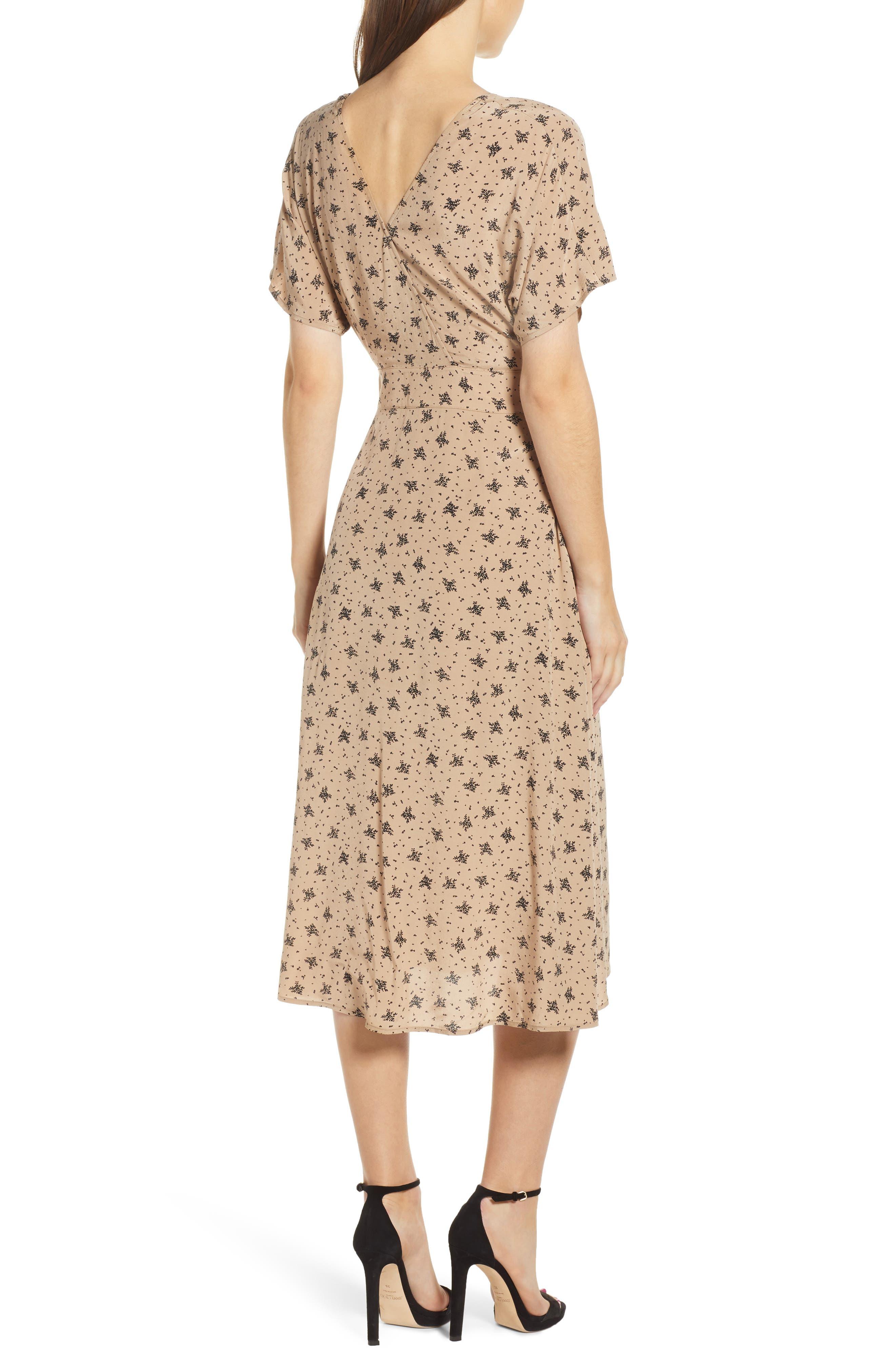 ,                             Dolman Sleeve Button Down Midi Dress,                             Alternate thumbnail 2, color,                             TAN BLACK MULTI FLORAL