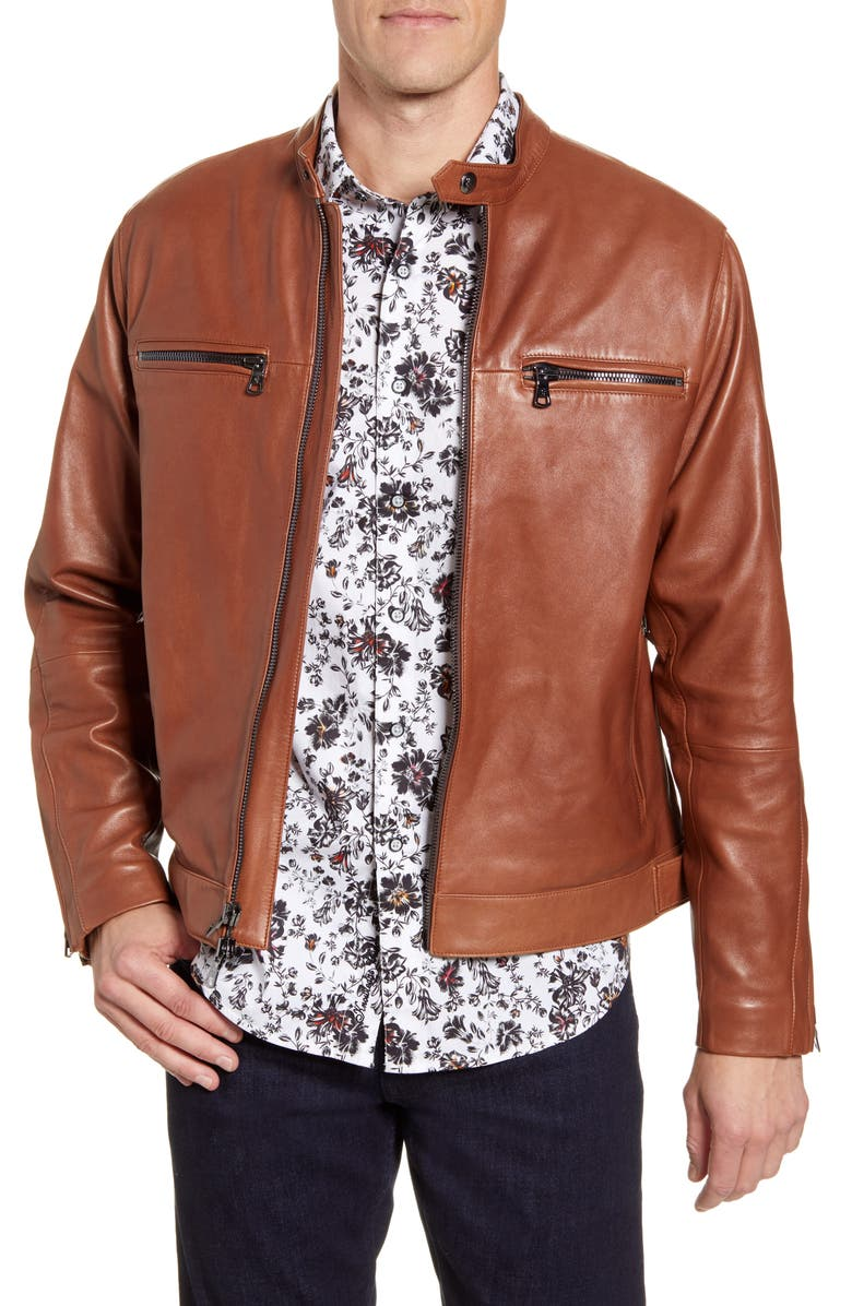 ROBERT GRAHAM Roscoe Skull Studded Leather Jacket, Main, color, 242
