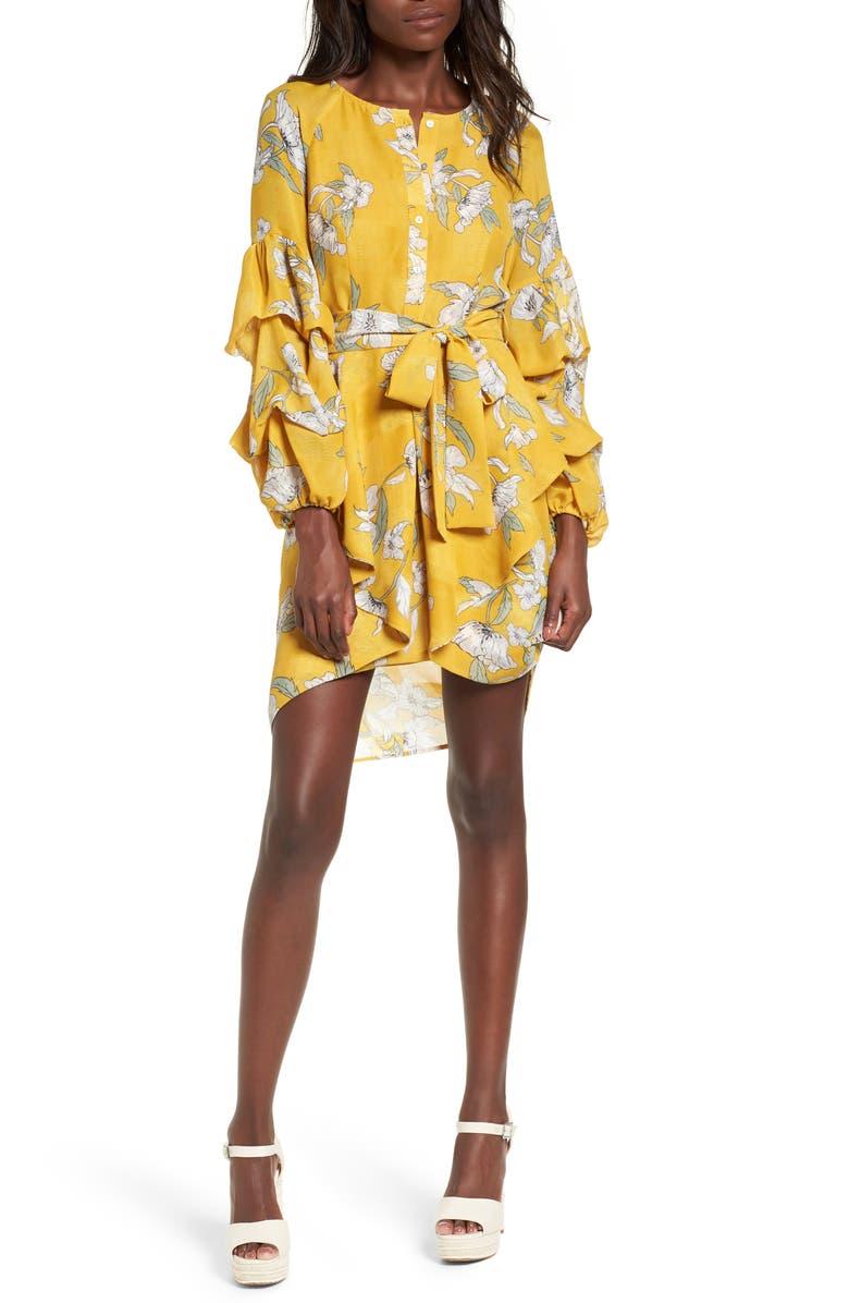 J.O.A. Chriselle x J.O.A. Tiered Sleeve Minidress, Main, color, 700