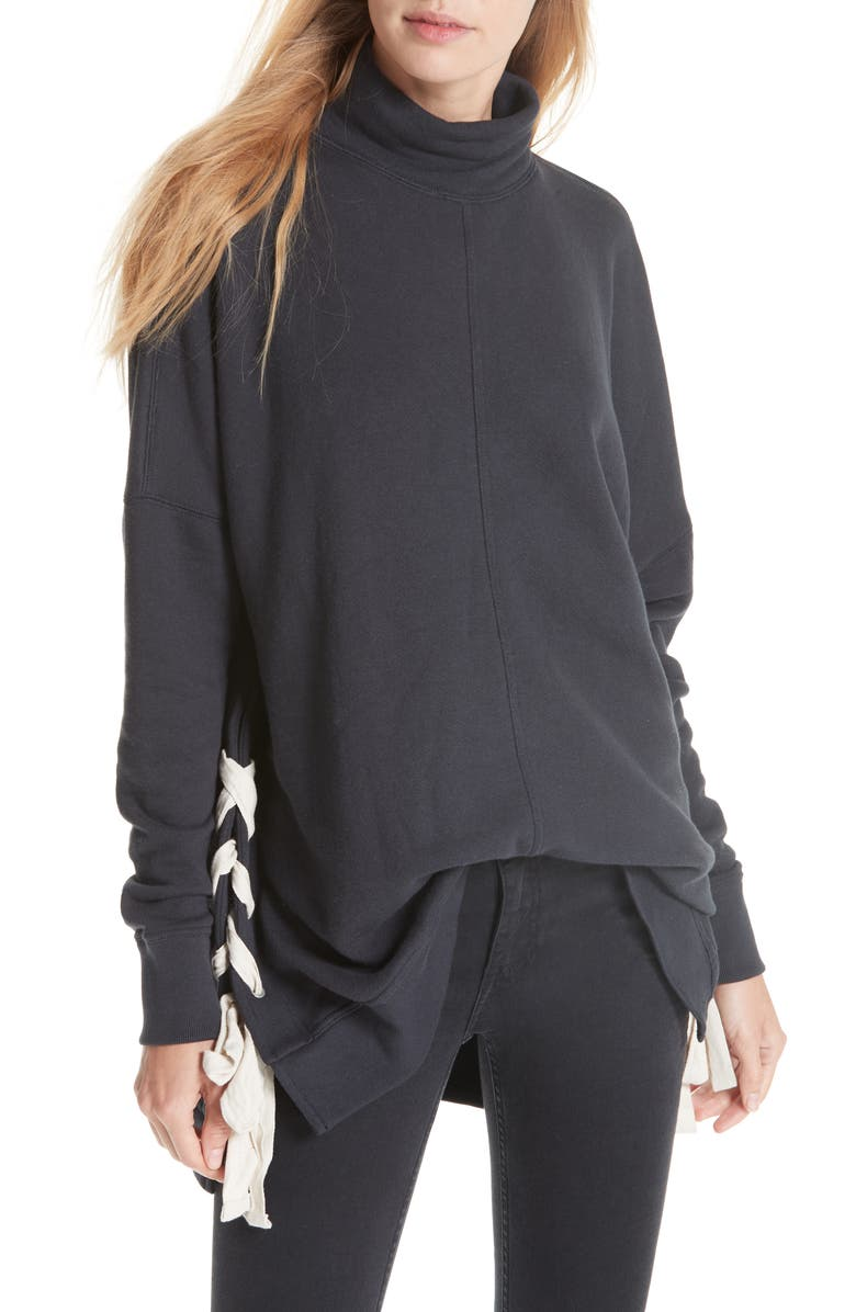 FREE PEOPLE So Plush Lace-Up Pullover, Main, color, 001