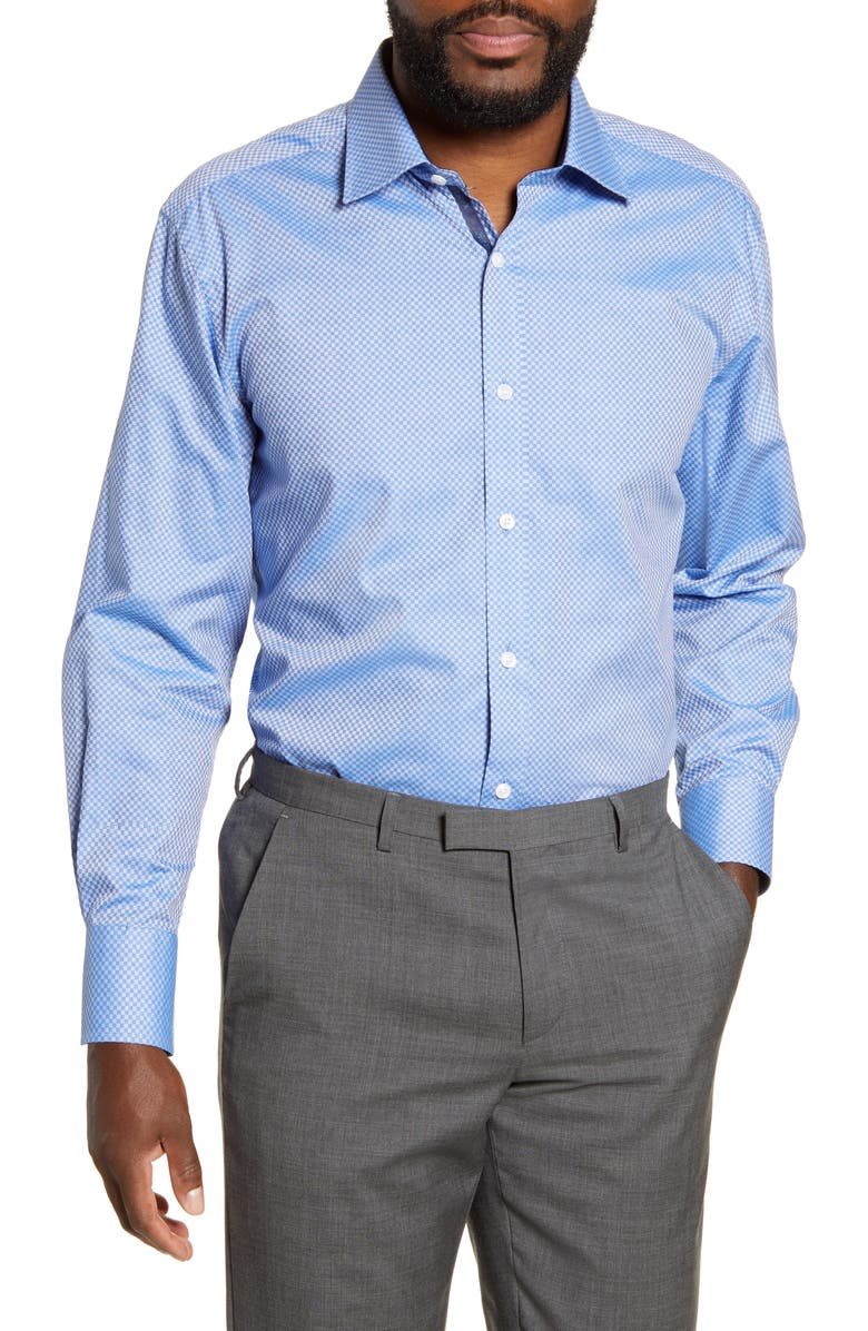ENGLISH LAUNDRY Regular Fit Check Dress Shirt, Main, color, BLUE