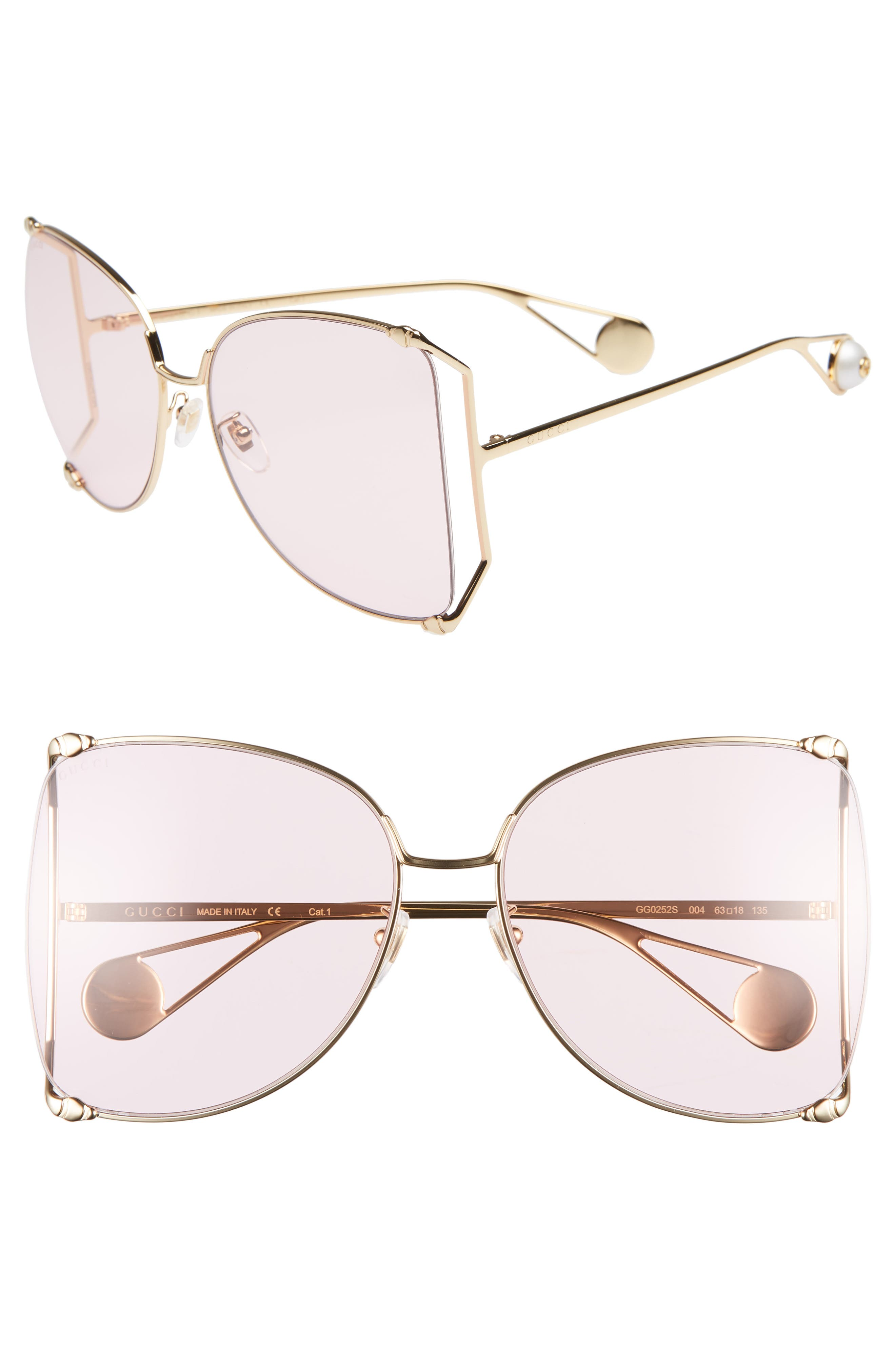,                             63mm Gradient Oversize Butterfly Sunglasses,                             Main thumbnail 7, color,                             713