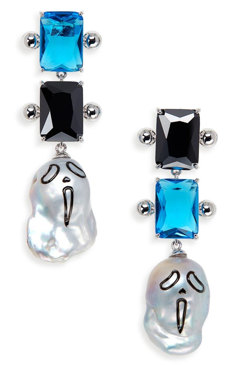 JIWINAIA Urlo Freshwater Pearl & Cubic Zirconia Earrings, Main, color, RHODIUM PLATED BRASS