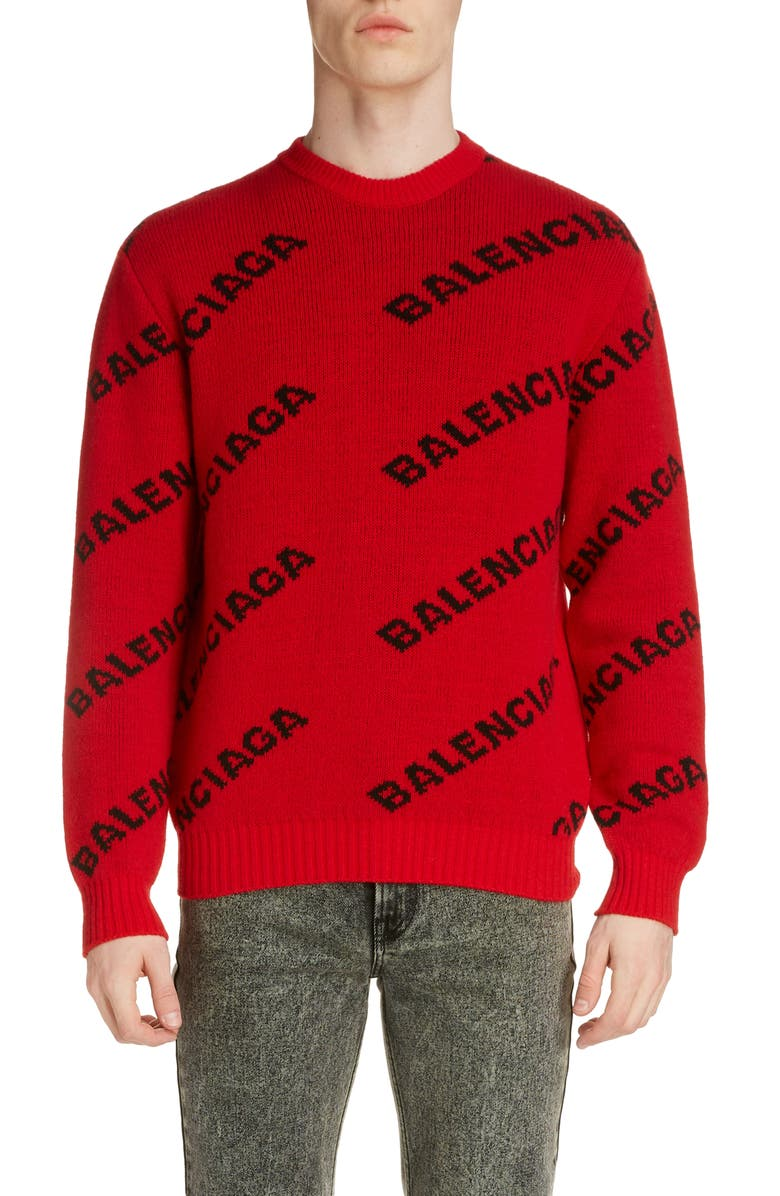 BALENCIAGA Crewneck Logo Wool Blend Sweater, Main, color, RED/BLACK