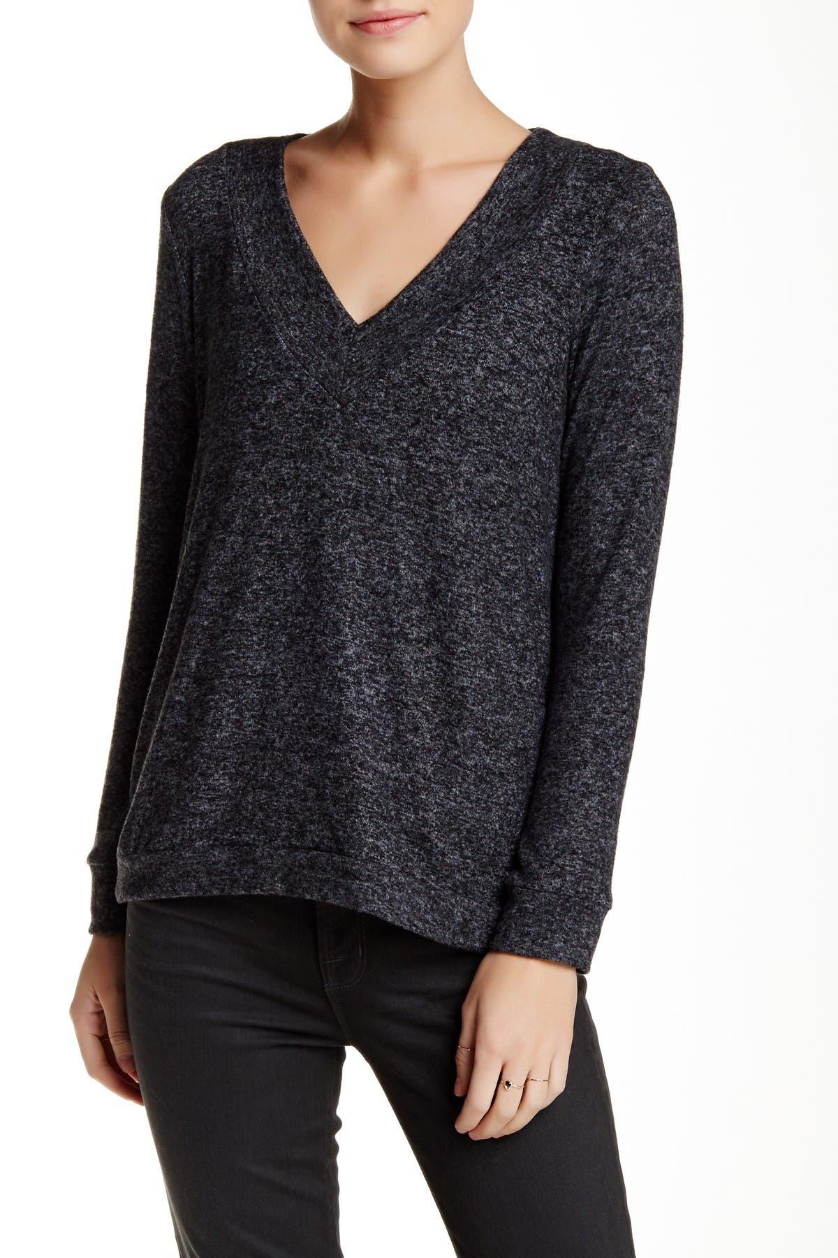 Image of Harlowe & Graham V-Neck Soft Knit Fleece Sweater