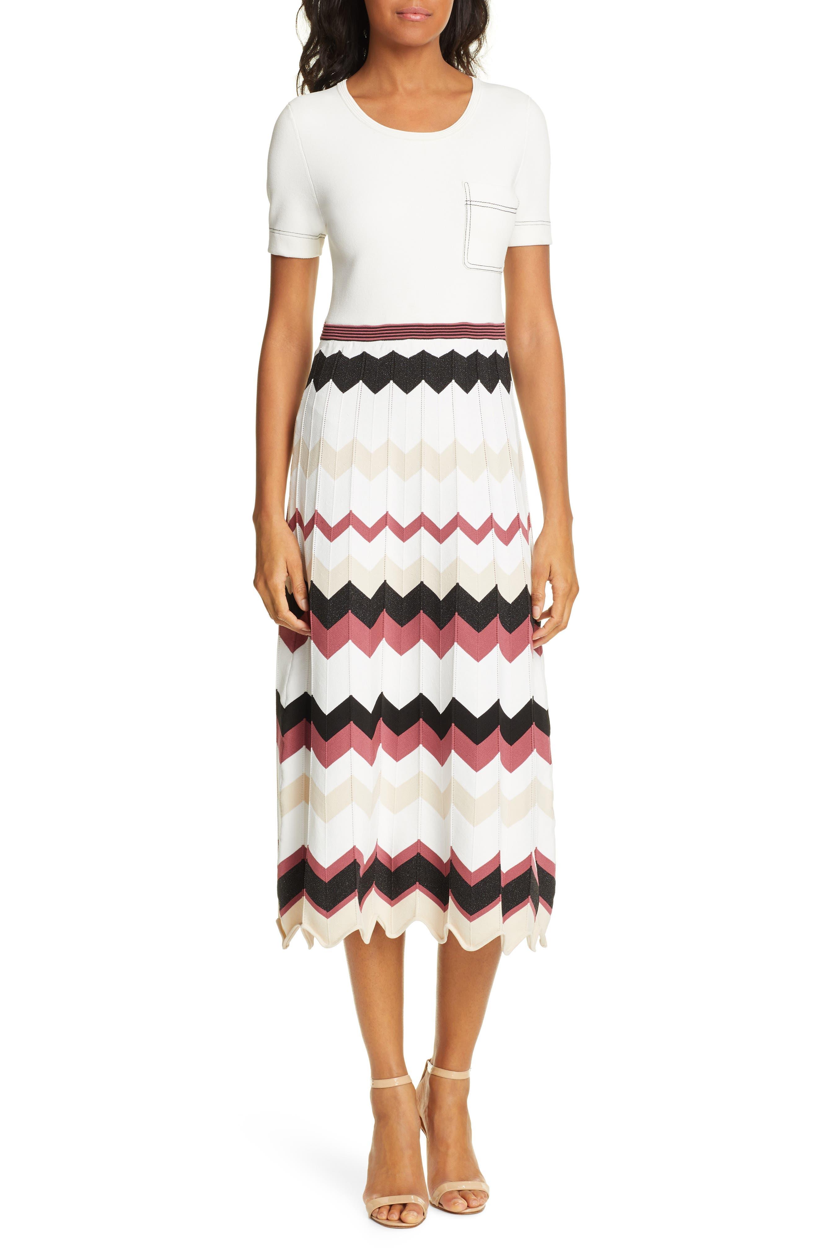 Dvf Gaia Chevron Pattern Dress