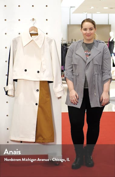 Colorblock Techy Twill Convertible Trench Coat, sales video thumbnail