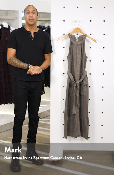 Edelie Tie Waist Sleeveless Linen Dress, sales video thumbnail