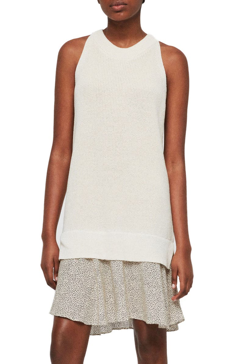 ALLSAINTS Haliki Speckle Layered Sweater Dress, Main, color, OYSTER WHITE