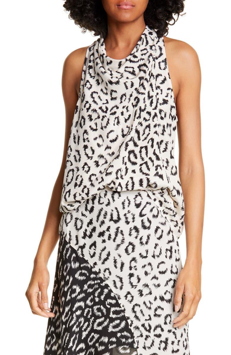 A.L.C. Ella Leopard Print Silk Top, Main, color, CREAM/ BLACK