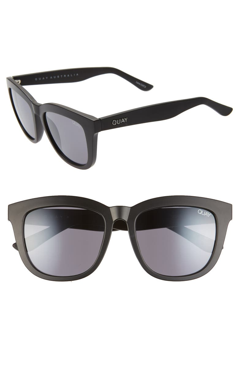 QUAY AUSTRALIA 'Zeus' 54mm Oversize Sunglasses, Main, color, BLACK/ BLACK