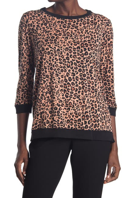 Image of LAYLA Leopard Print 3/4 Sleeve Pajama Top