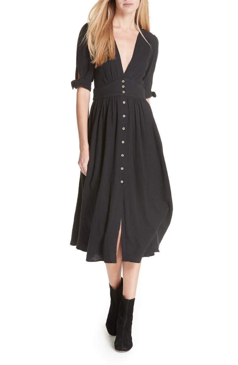 FREE PEOPLE Love of My Life Midi Dress, Main, color, BLACK