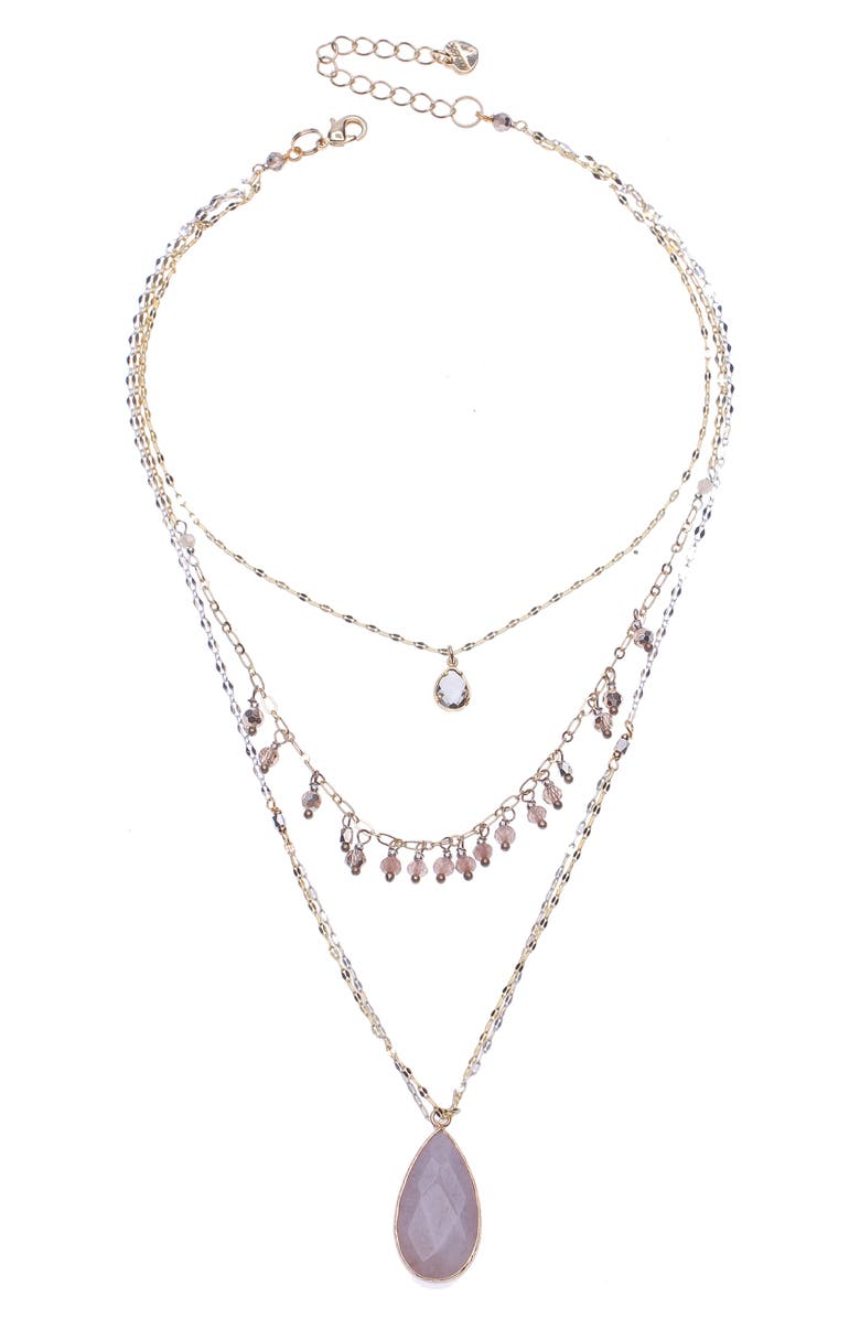 NAKAMOL CHICAGO 3-Layer Teardrop Necklace, Main, color, GOLD
