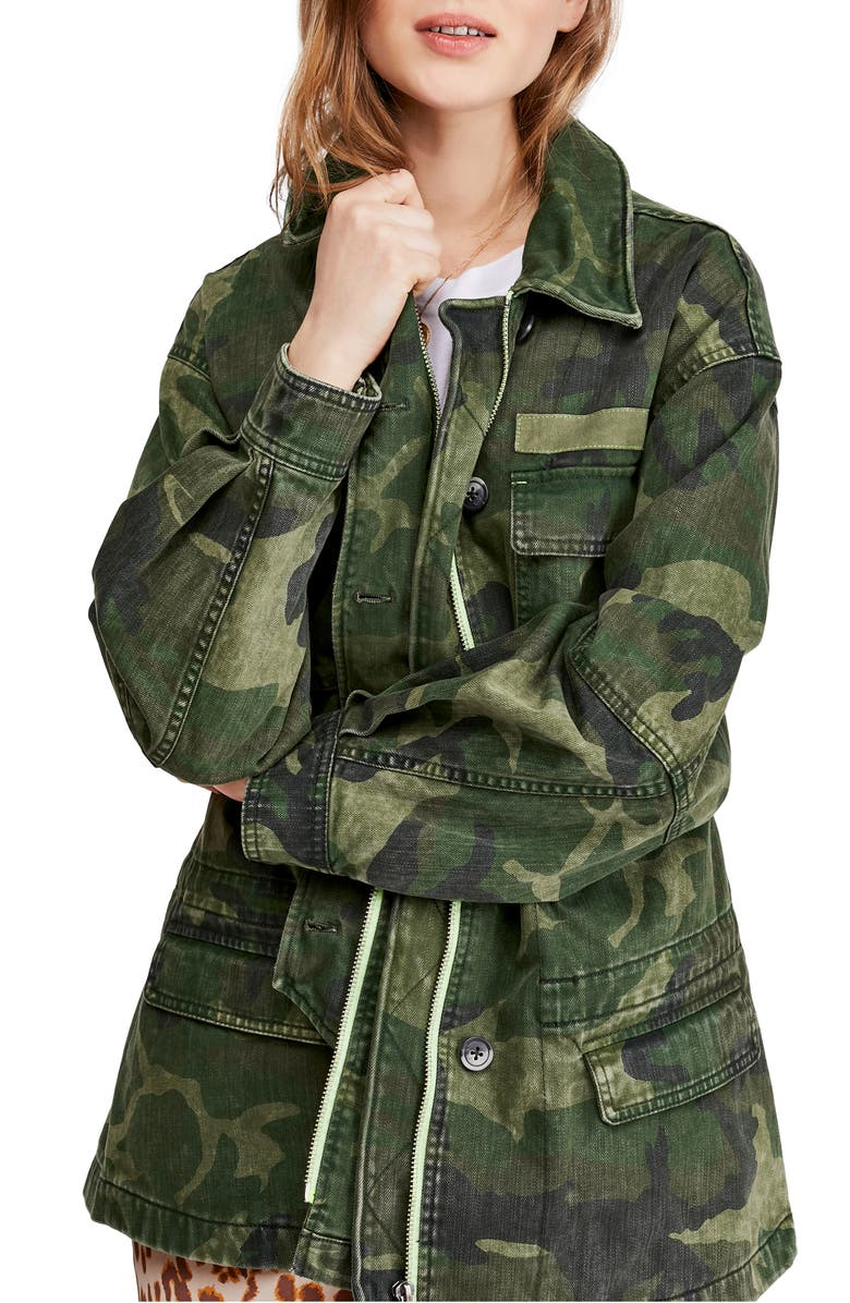 FREE PEOPLE Seize The Day Jacket, Main, color, CAMO