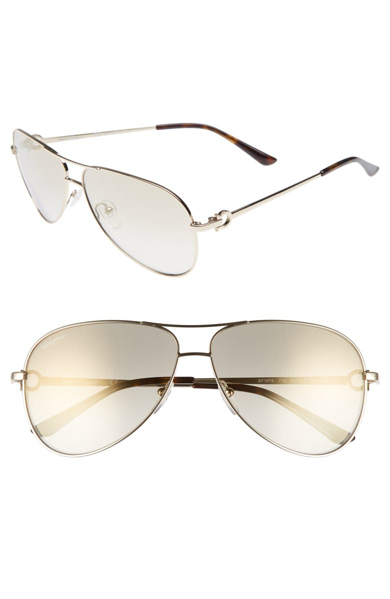 SALVATORE FERRAGAMO Gancio 62mm Aviator Sunglasses, Main, color, SHINY GOLD
