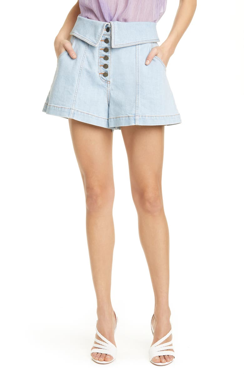 ULLA JOHNSON Kase Foldover Denim Shorts, Main, color, LIGHT WASH