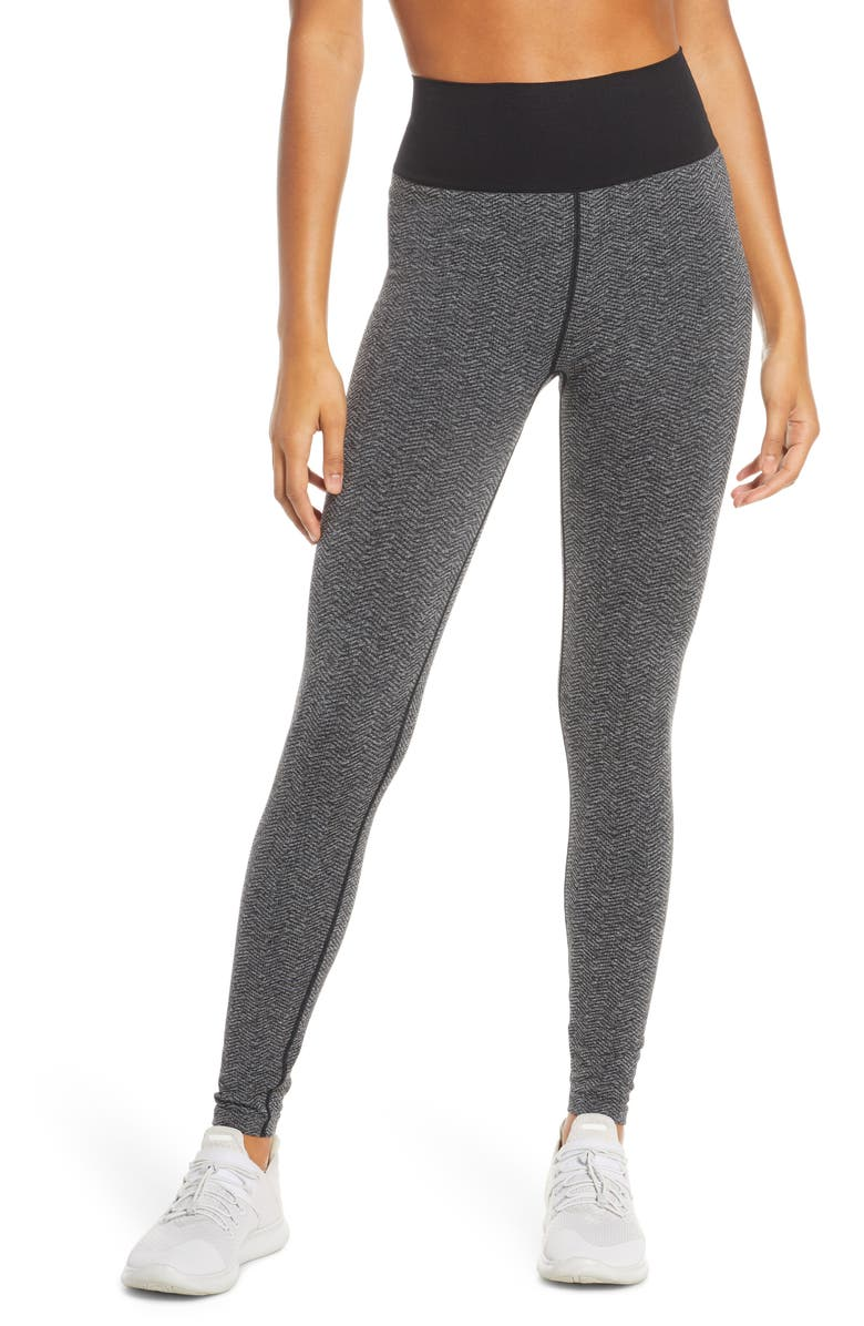 ZELLA Seamless Herringbone High Waist Leggings, Main, color, BLACK HERRINGBONE