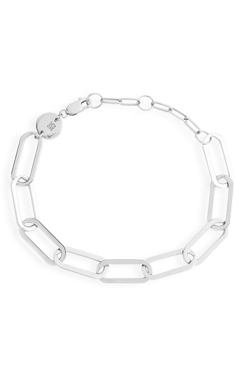 JENNIFER ZEUNER Marta Chain Link Bracelet, Main, color, STERLING SILVER