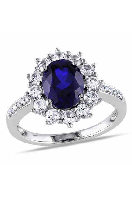 Image of Delmar Sterling Silver Diamond & Created Sapphire Ring - 0.05 ctw