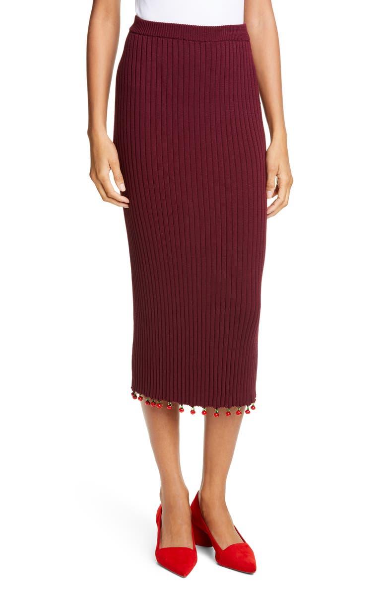 STAUD Costa Knit Midi Pencil Skirt, Main, color, BEAN