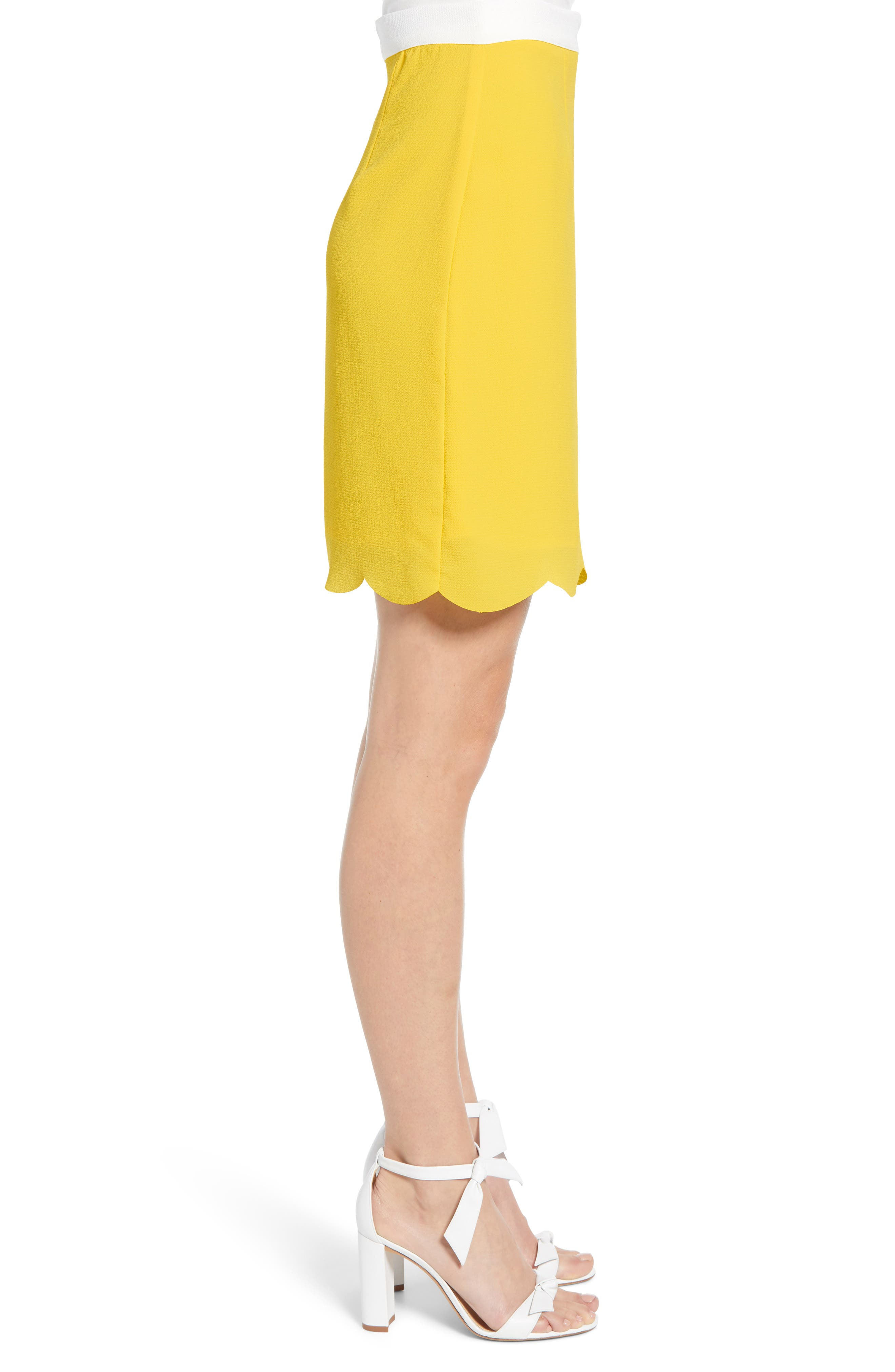 ,                             x Living in Yellow Daphne Scallop Hem Skirt,                             Alternate thumbnail 3, color,                             YELLOW W/ IVORY