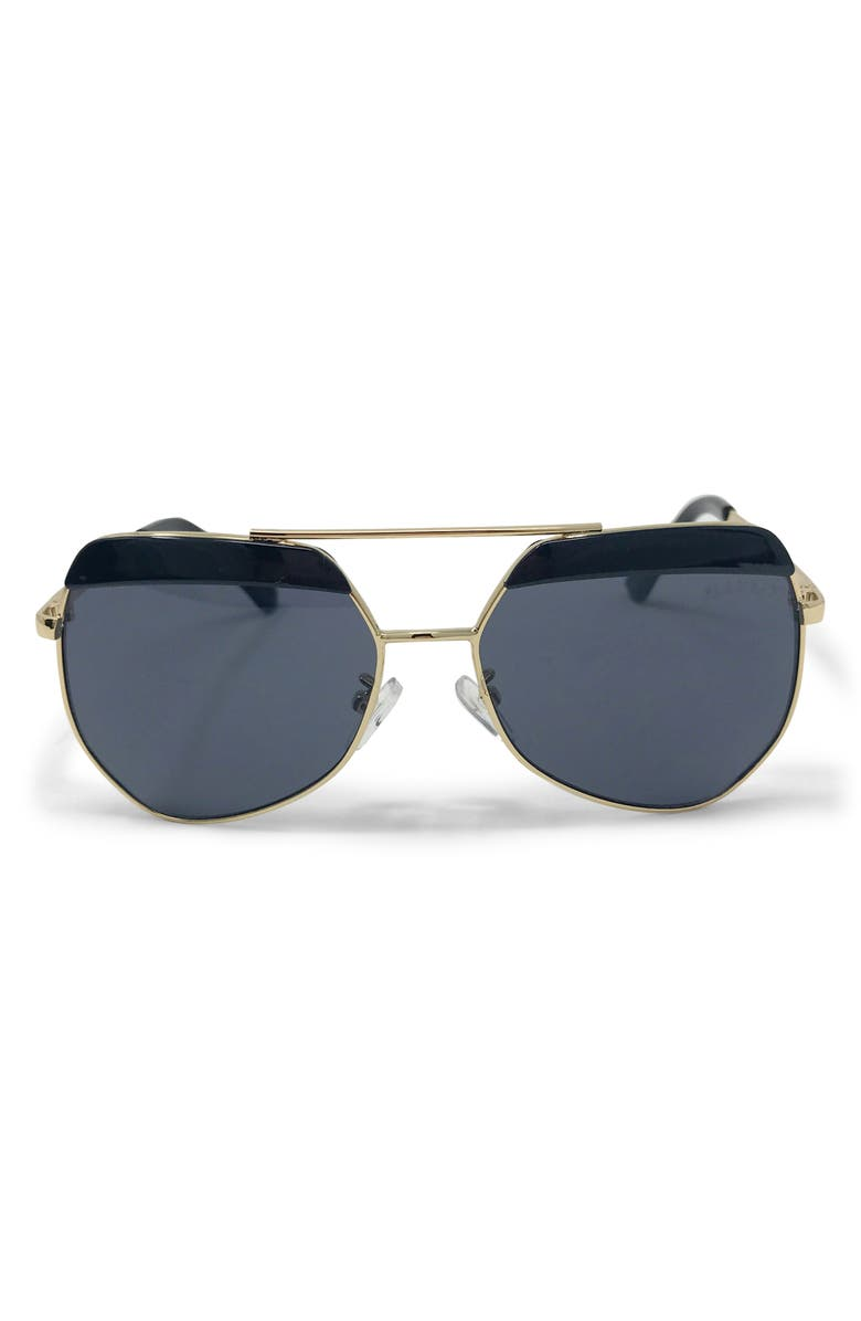 GLAMBABY Georgio Aviator Sunglasses, Main, color, GREY AND GOLD