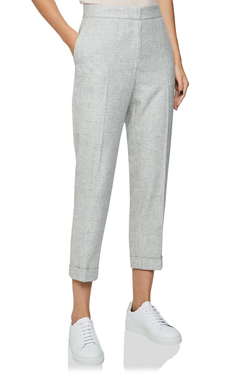 REISS Esmé Grey Marled Straight Leg Wool & Linen Blend Trousers, Main, color, LIGHT GREY