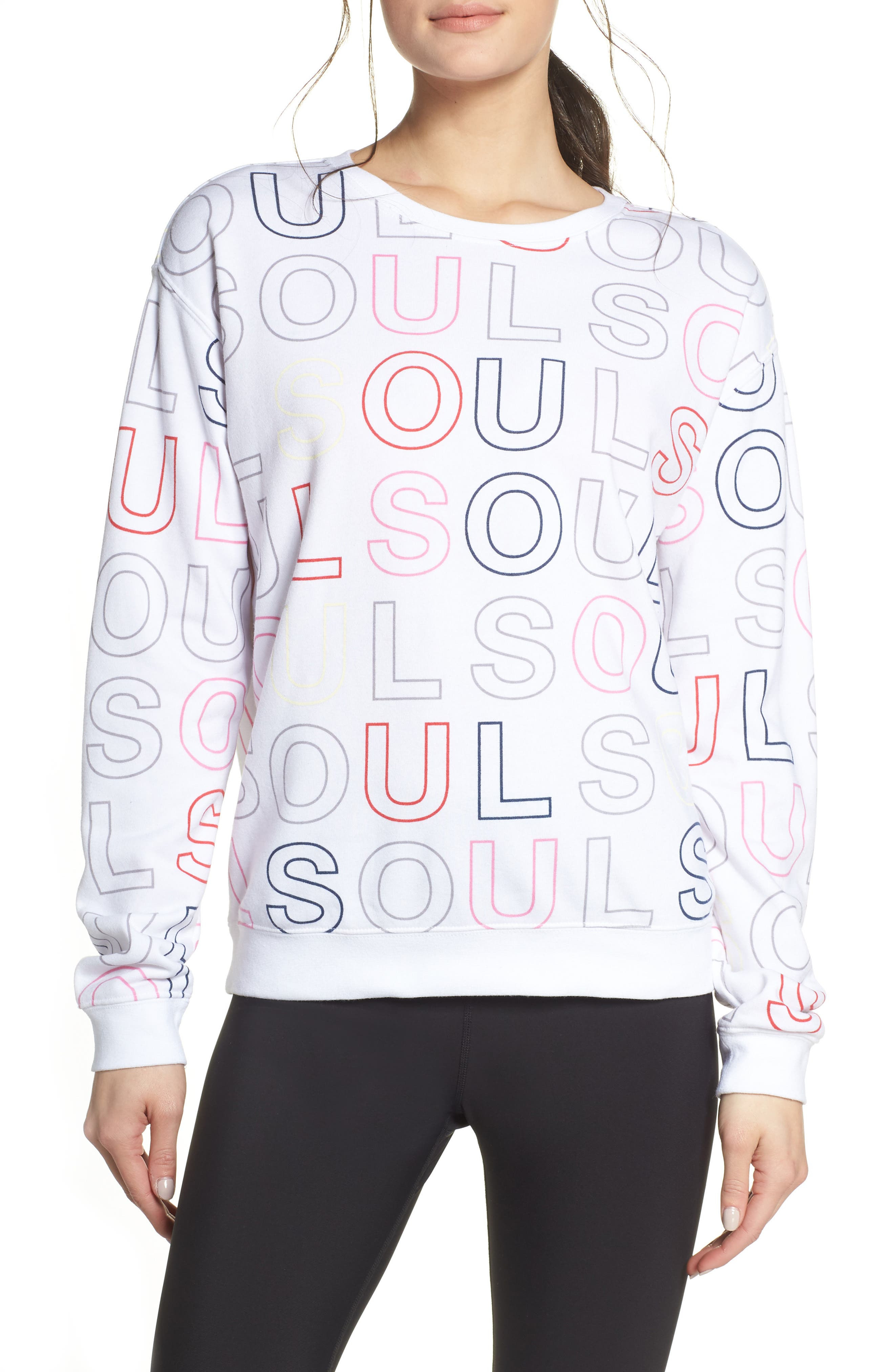 Soul By Soulcycle Knockout Print Sweatshirt, White