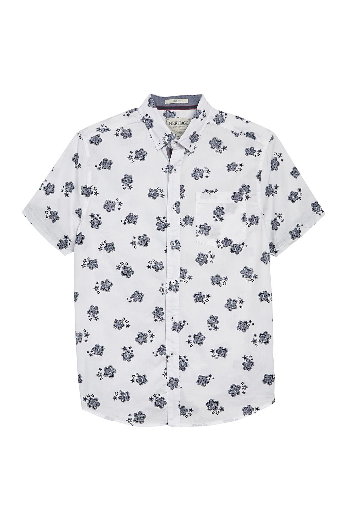 Image of Report Collection Floral Print Slim Fit Shirt