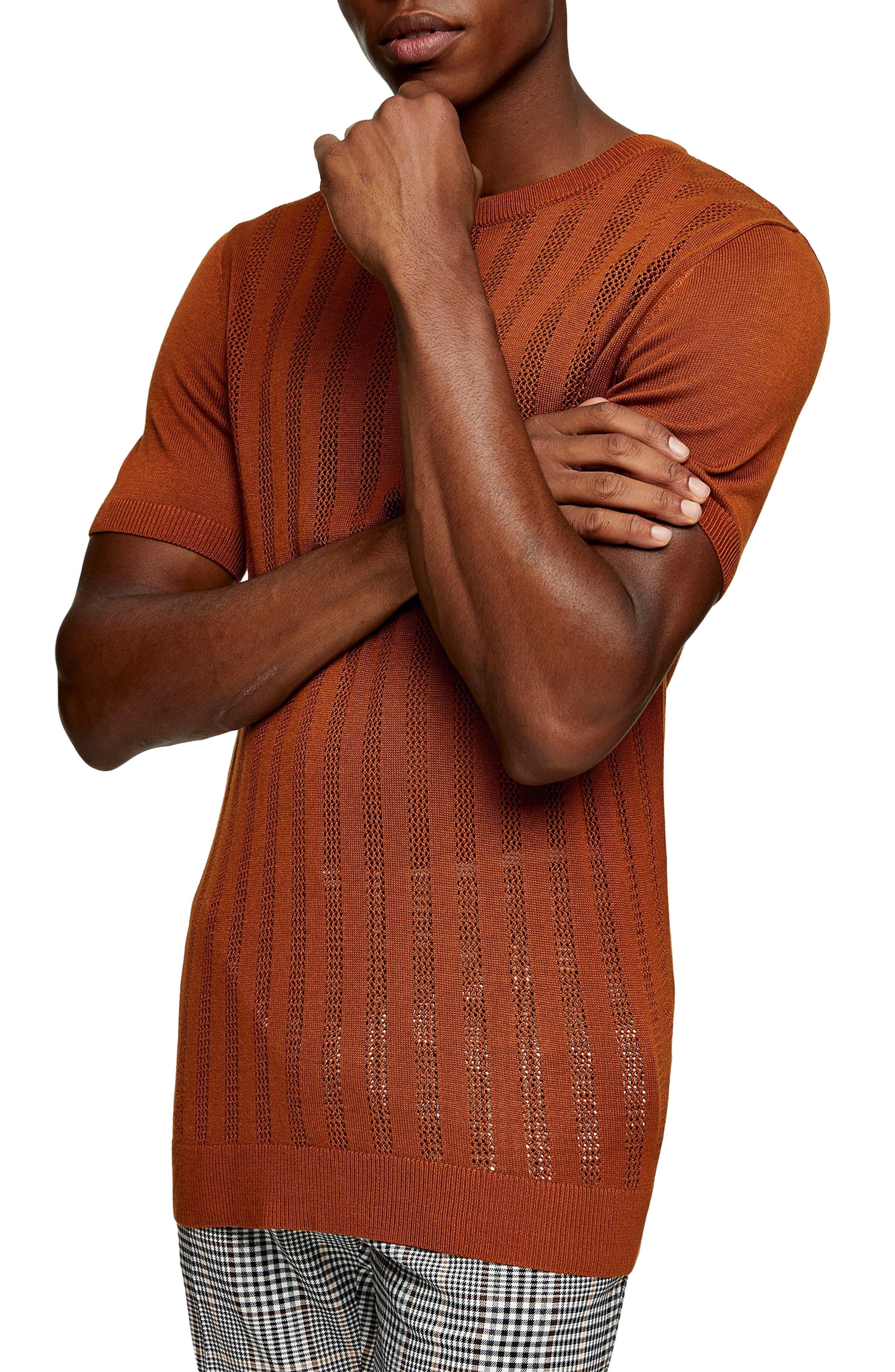 1960s Mens Shirts | 60s Mod Shirts, Hippie Shirts Mens Topman Slim Fit Mesh Effect Sweater Knit T-Shirt Size X-Large - Brown $50.00 AT vintagedancer.com