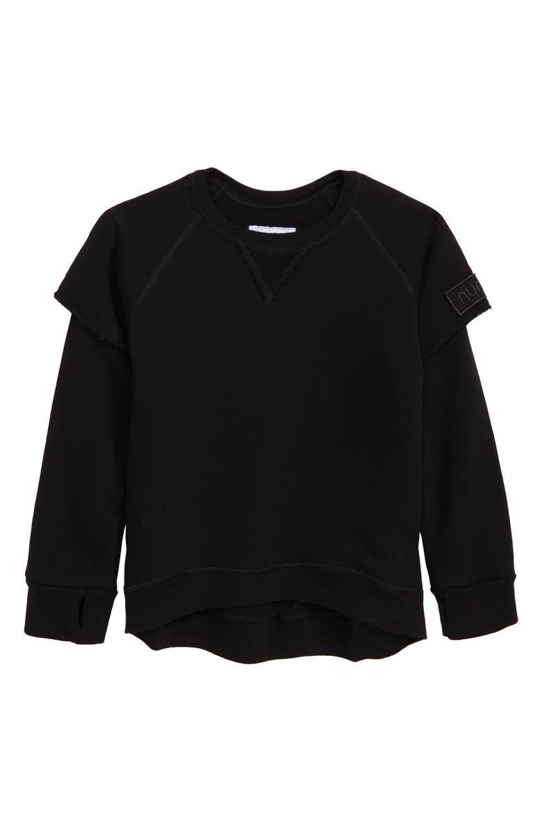 NUNUNU Twofer Sweatshirt, Main, color, BLACK