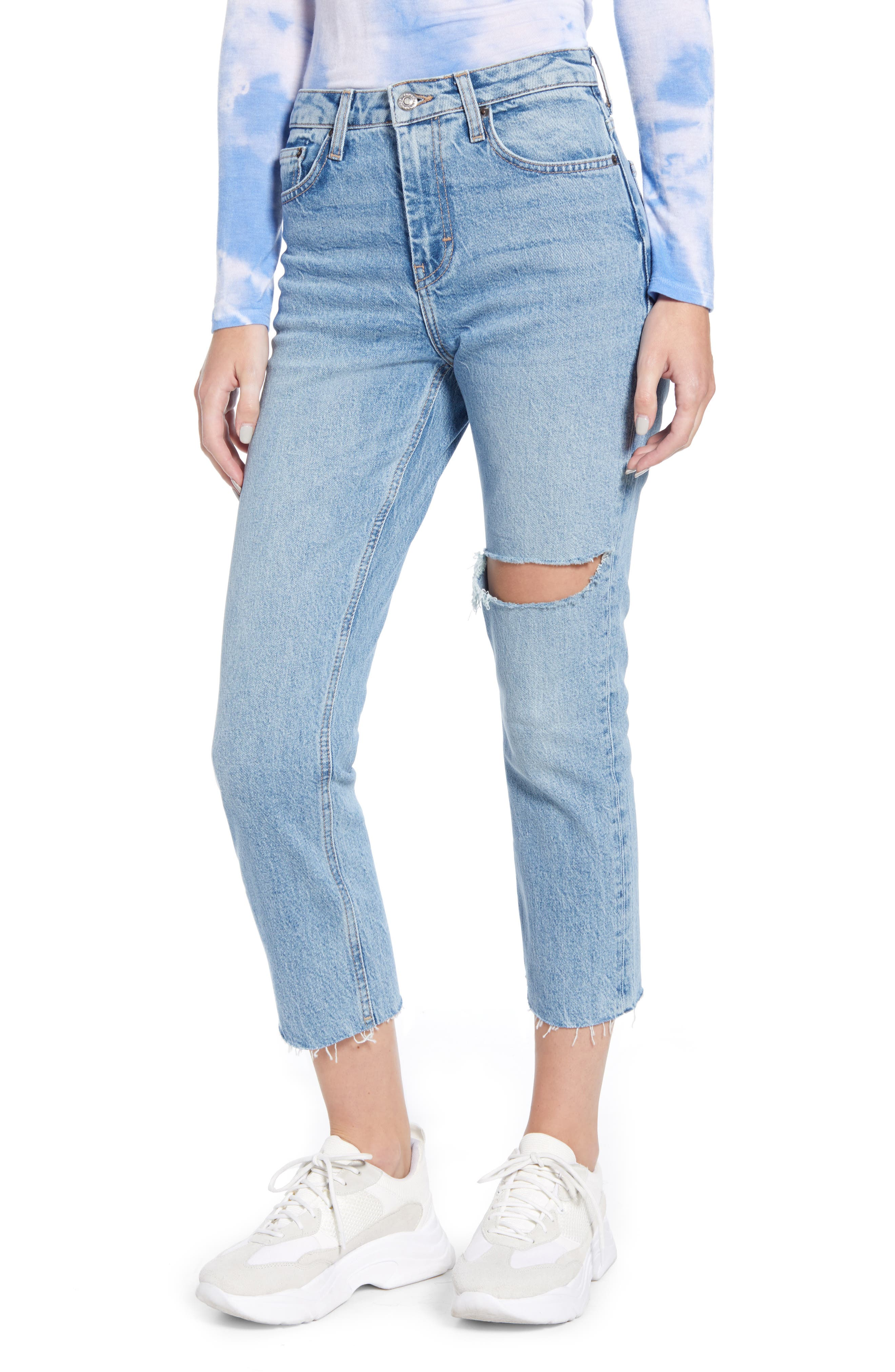 Topshop Ripped Straight Leg Jeans