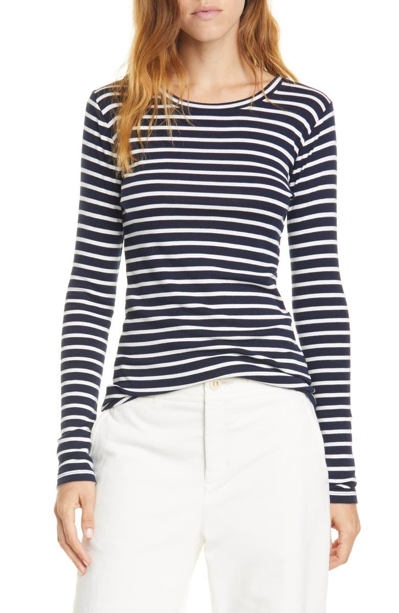 VINCE Feeder Stripe Long Sleeve Pima Cotton Blend Top, Main, color, 472