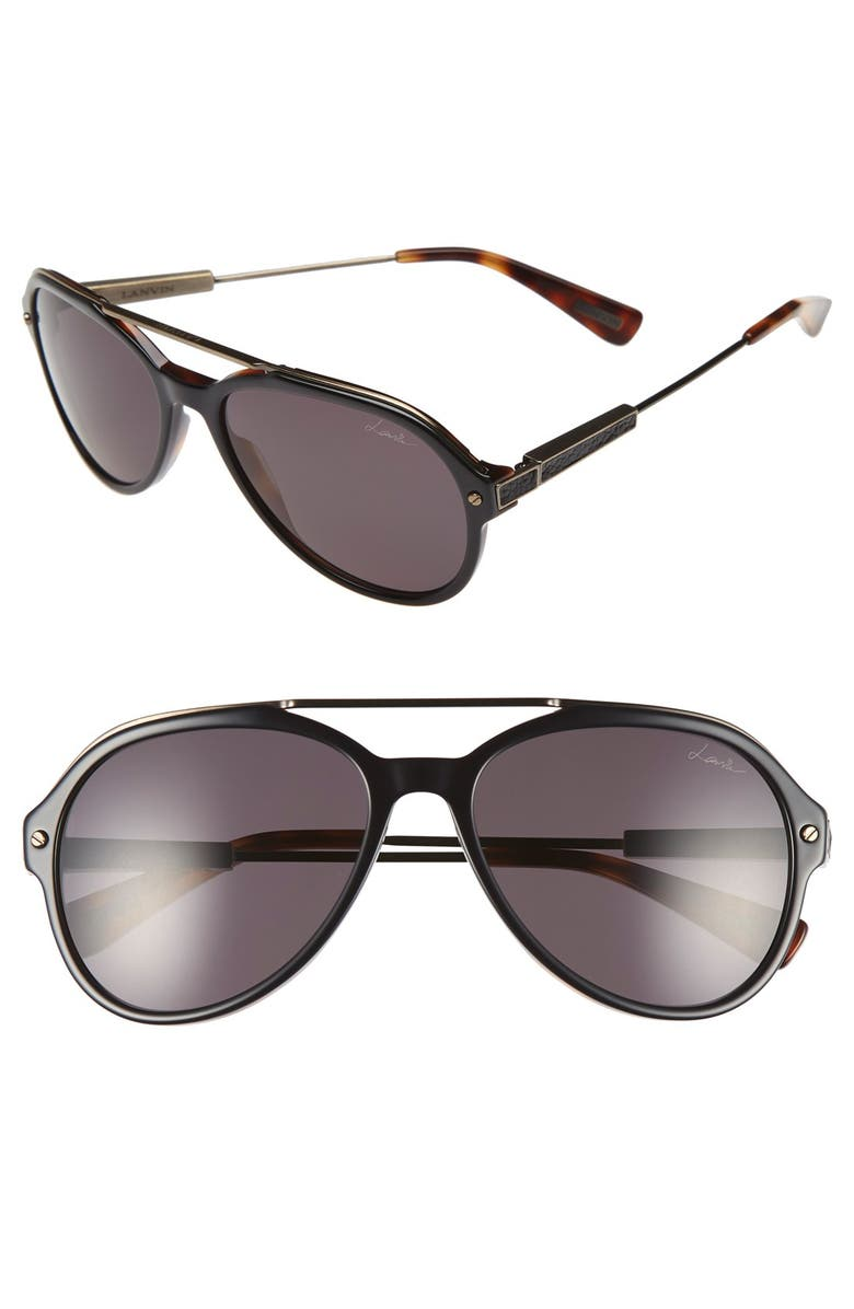 LANVIN 57mm Aviator Sunglasses, Main, color, 001