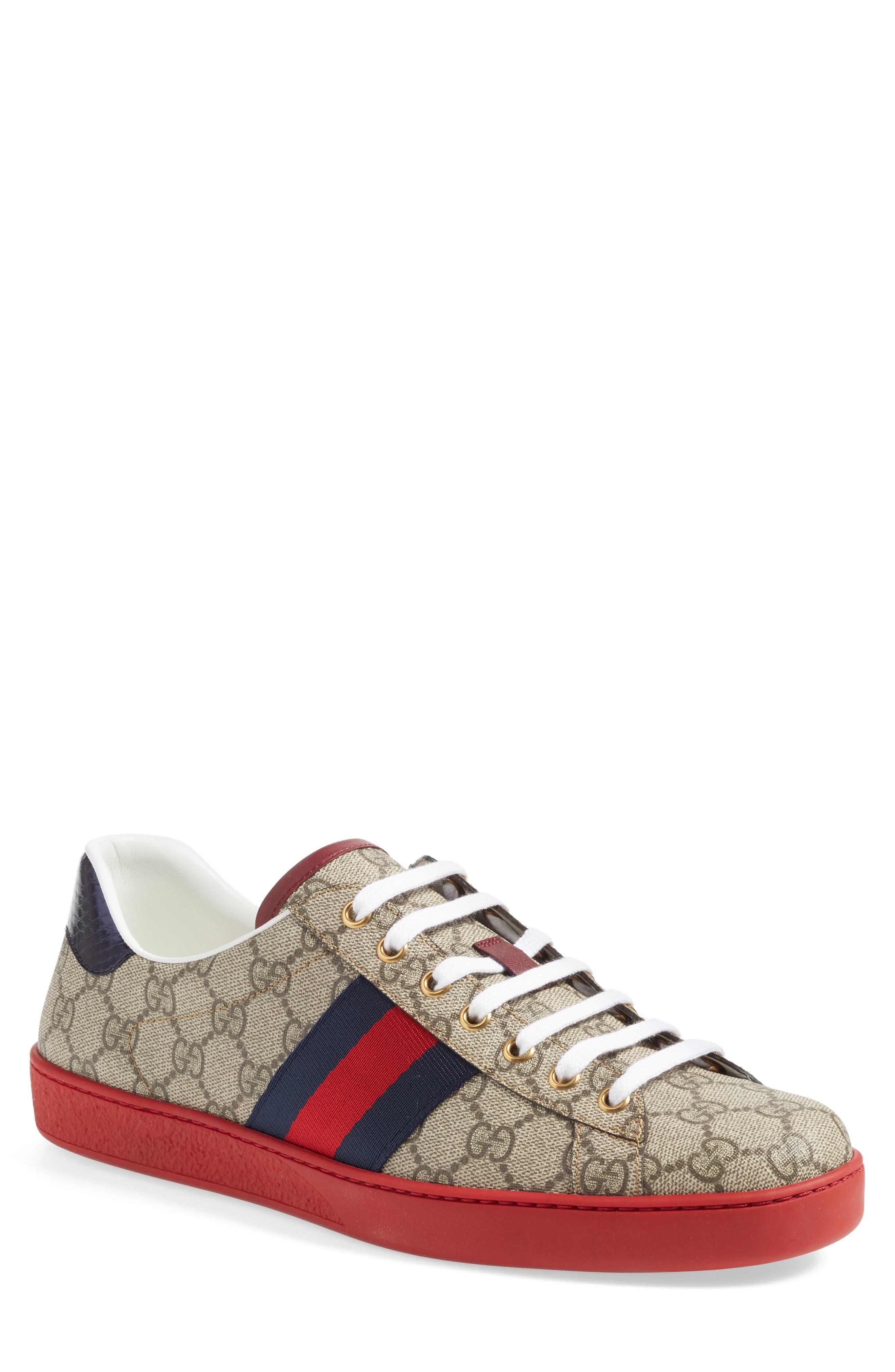 New Ace Webbed Low Top Sneaker, Main, color, BEIGE