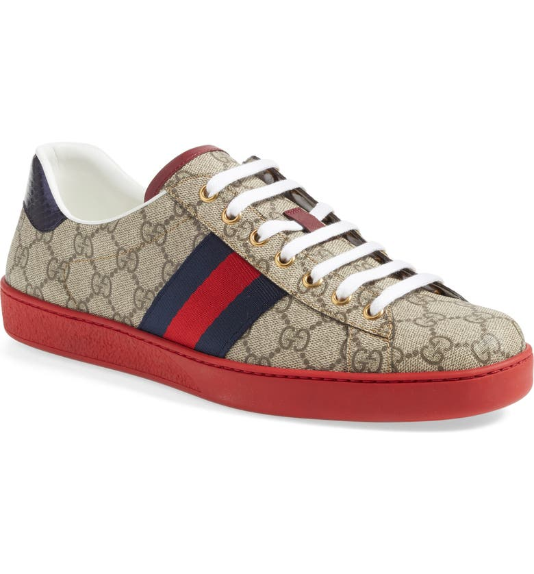 GUCCI New Ace Webbed Low Top Sneaker, Main, color, BEIGE