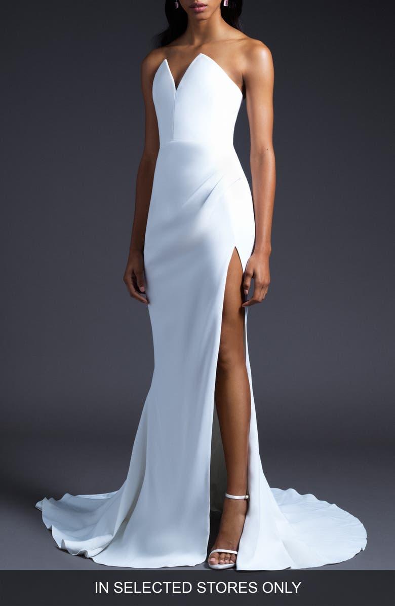 CUSHNIE V-Neck Slit Wedding Dress, Main, color, WHITE