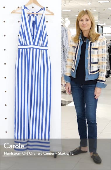 Afton Stripe Halter Neck Jumpsuit, sales video thumbnail