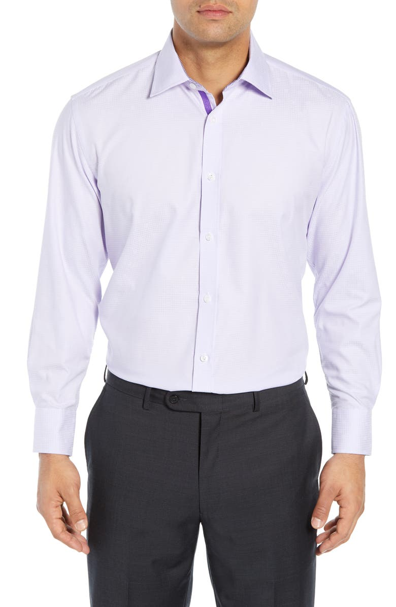 ENGLISH LAUNDRY Regular Fit Solid Dress Shirt, Main, color, PURPLE