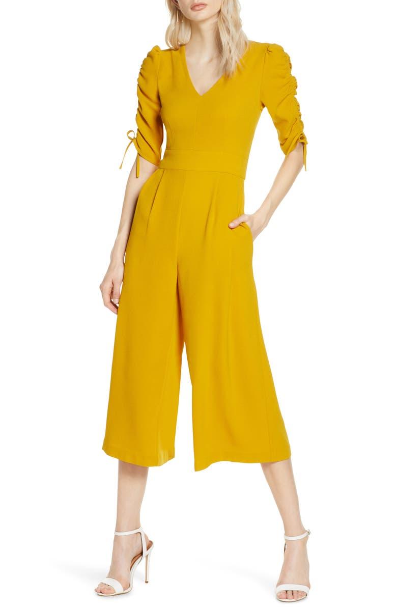 CHELSEA28 Ruched Sleeve Crop Wide Leg Jumpsuit, Main, color, 720
