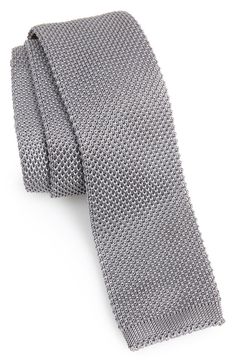 NORDSTROM MEN'S SHOP Stuart Silk Knit Tie, Main, color, PLATINUM