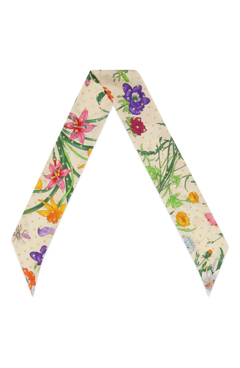 GUCCI Goldy Floral & Star Print Silk Skinny Scarf, Main, color, IVORY