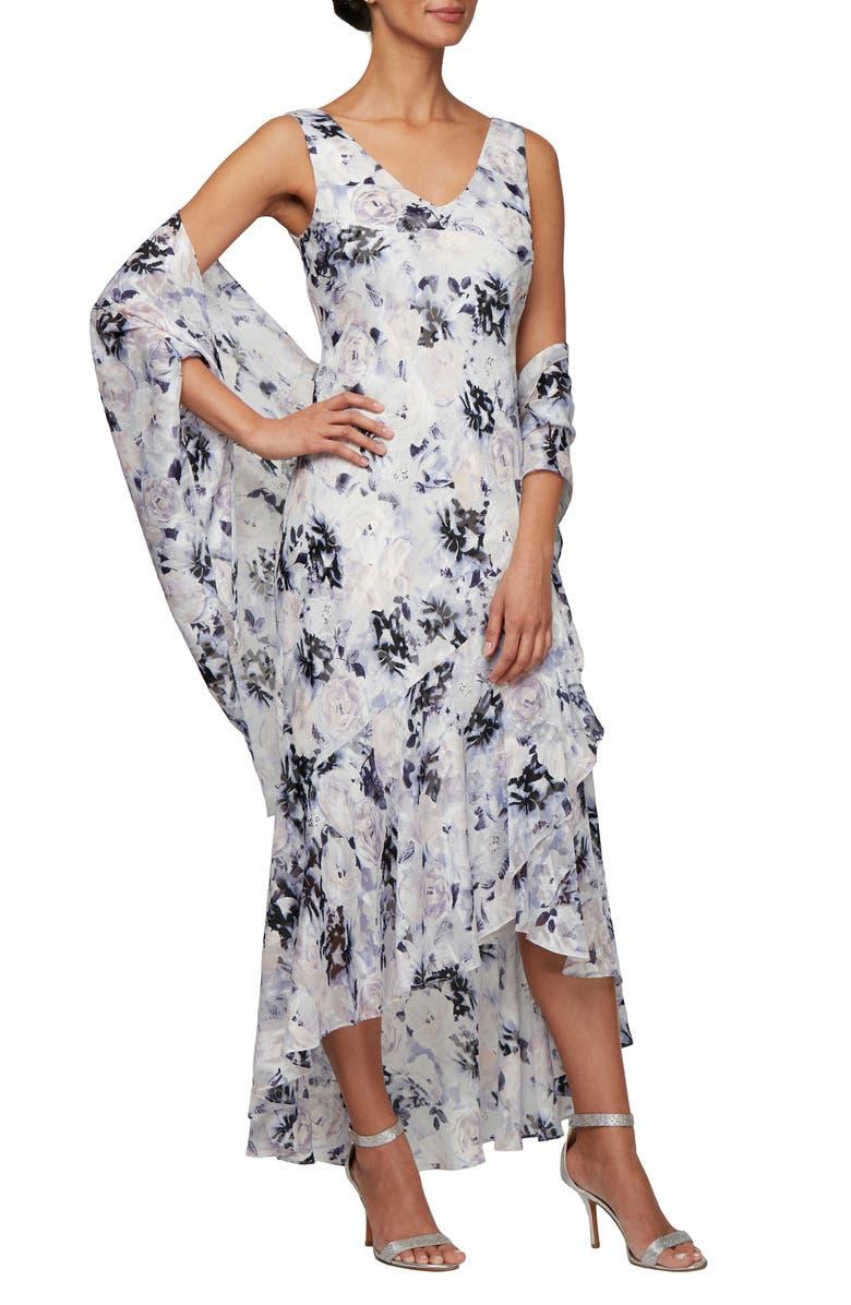 ALEX EVENINGS Floral Burnout High/Low Chiffon Evening Dress with Wrap, Main, color, 546