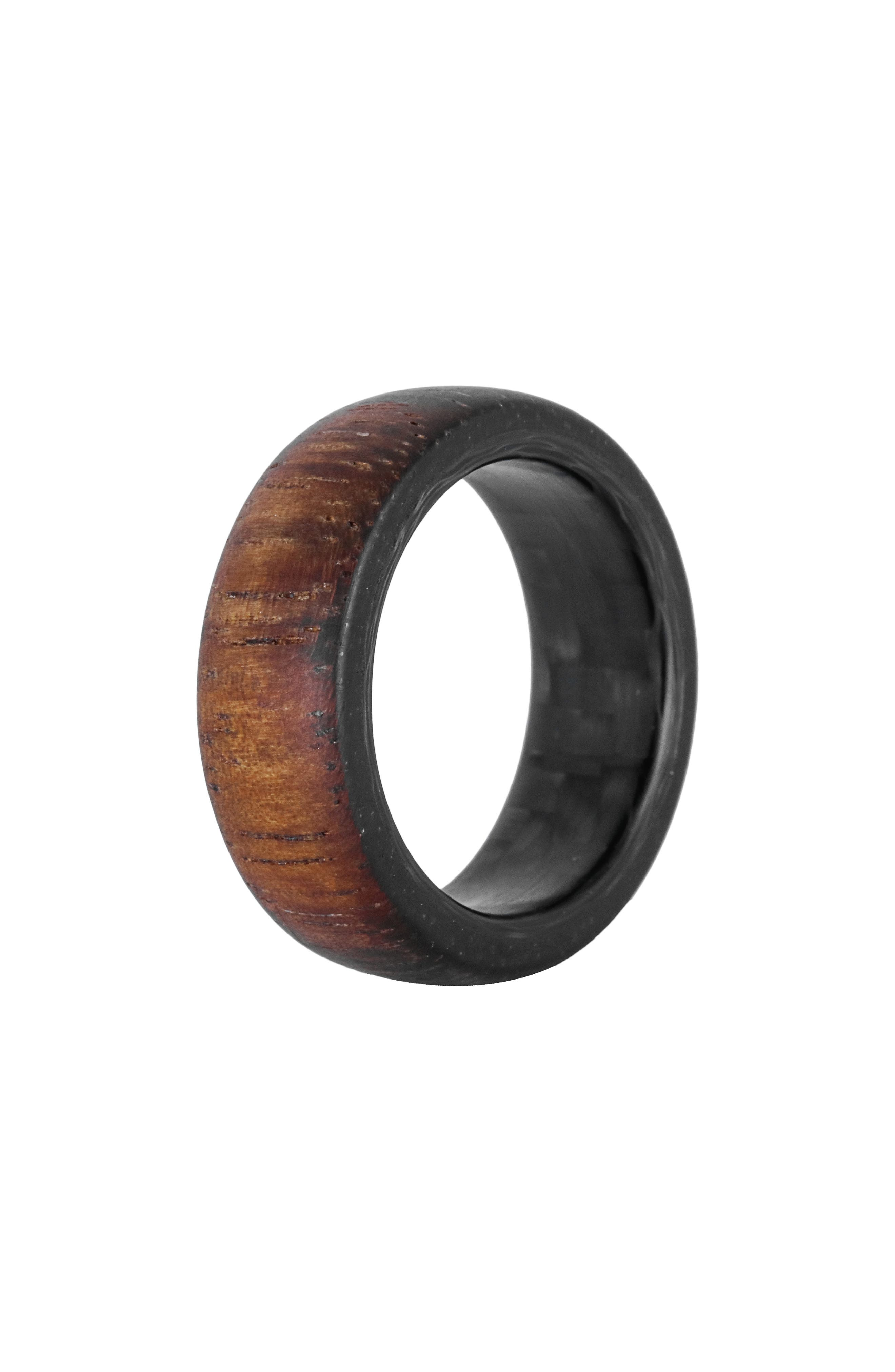 Koa Wood & Carbon Fiber Ring