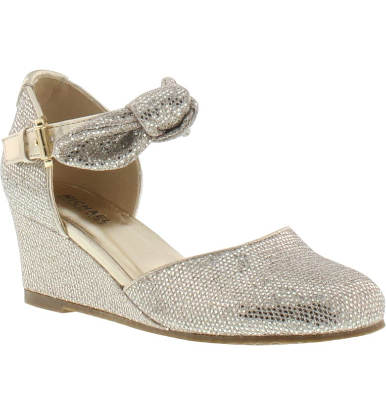 MICHAEL MICHAEL KORS Bijou Seti Metallic Bow Strap Wedge, Main, color, SAND
