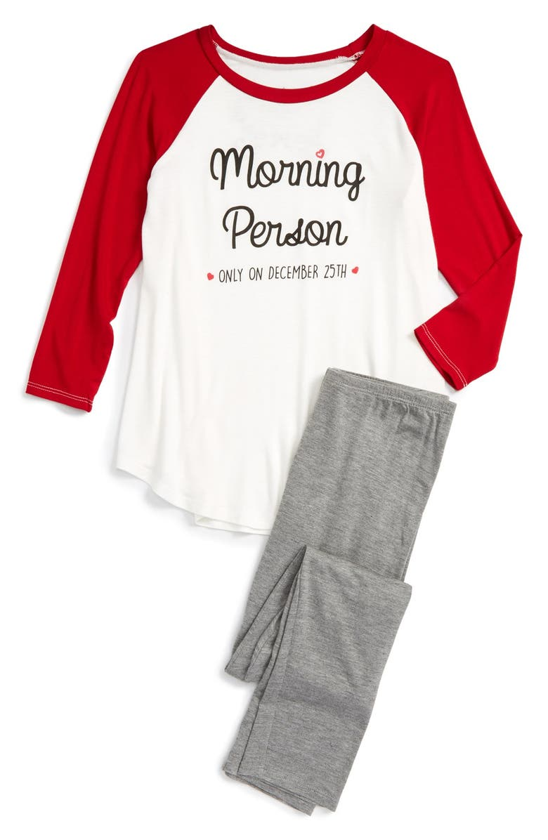 TRU LUV Morning Person Fitted Two-Piece Pajamas, Main, color, 901